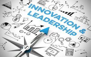Business Innovation & Leadership als Konzept auf einem Kompass